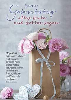 Postkarten: Zum Geburtstag alles Gute und Gottes Segen, 4 Stück