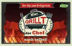 Kräuter-Dip-Postkarte - Hier grillt der Chef noch selbst!